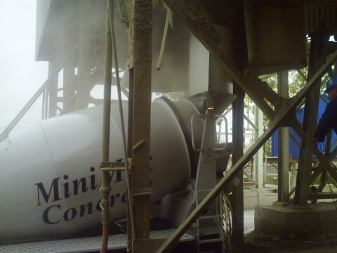 loading 2 yard cement mixer